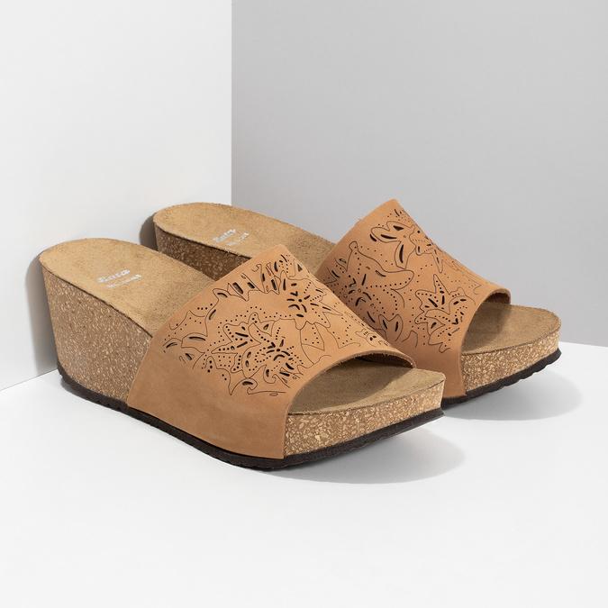 Kožené korkové nazouváky na klínku bata, hnědá, 766-3615 - 26