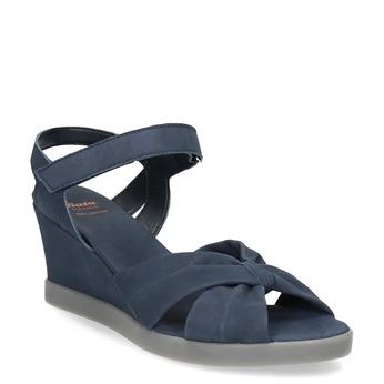 Modré kožené sandály na klínku flexible, modrá, 666-9617 - 13