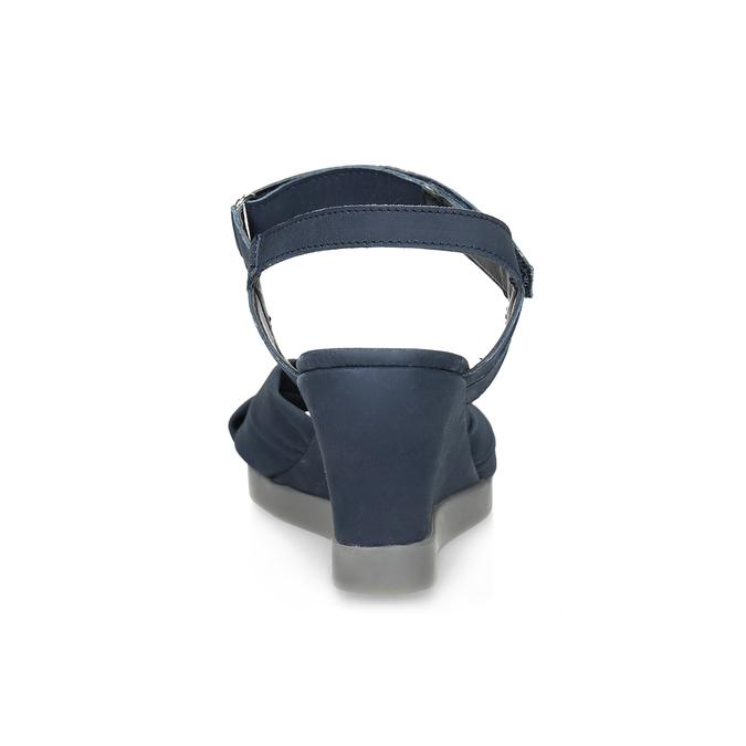 Modré kožené sandály na klínku flexible, modrá, 666-9617 - 15
