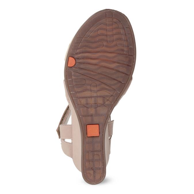 Béžové kožené sandály na klínku flexible, béžová, 666-5617 - 18