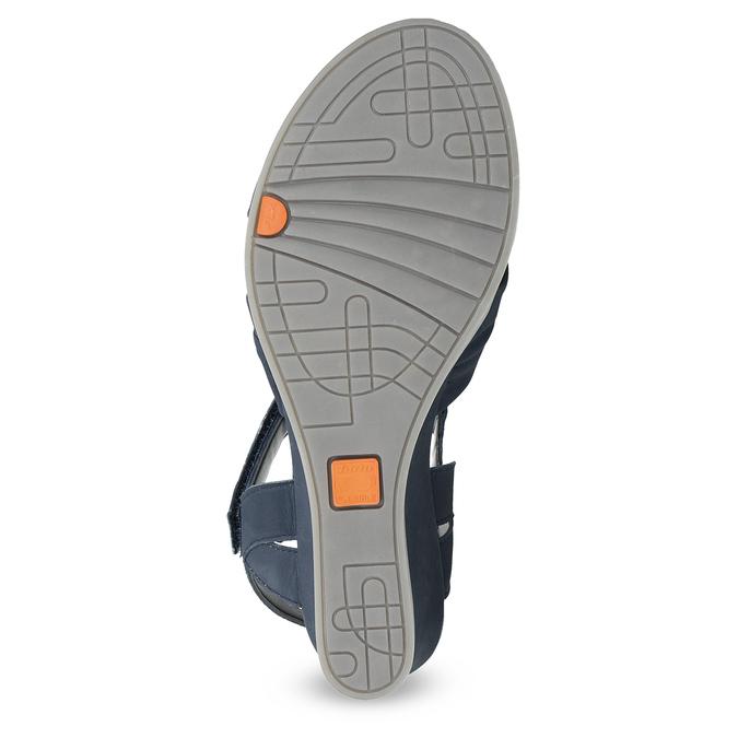 Modré kožené sandály na klínku flexible, modrá, 666-9617 - 18