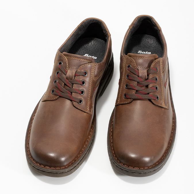 Hnědé kožené ležérní polobotky bata, hnědá, 826-4918 - 16