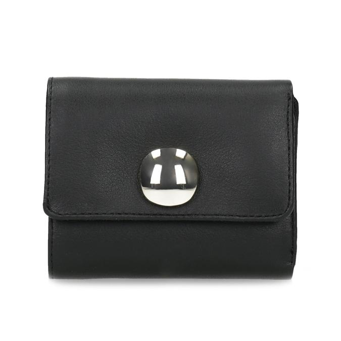 Černá kožená peněženka se zlatým zapínáním vagabond, černá, 966-6063 - 26