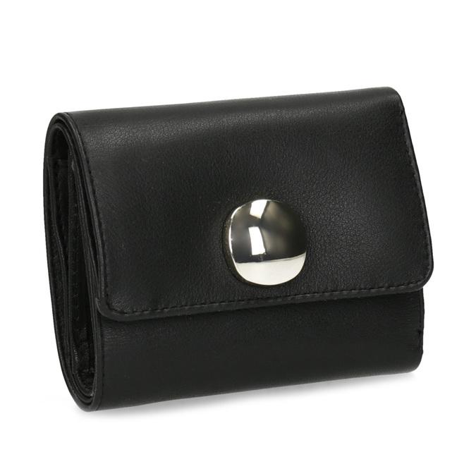 Černá kožená peněženka se zlatým zapínáním vagabond, černá, 966-6063 - 13
