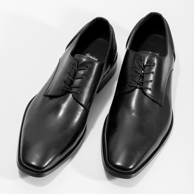 Černé kožené Derby polobotky bata, černá, 824-6405 - 16