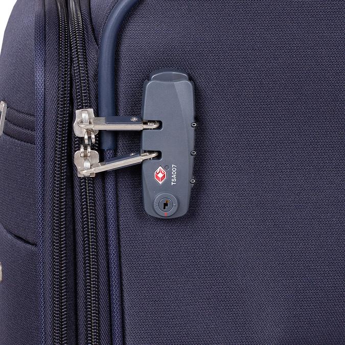 Tmavě modrý texilní kufr na kolečkách menší samsonite, modrá, 960-9040 - 15