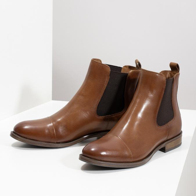 Kožená hnědá dámská Chelsea obuv bata, hnědá, 594-4636 - 16