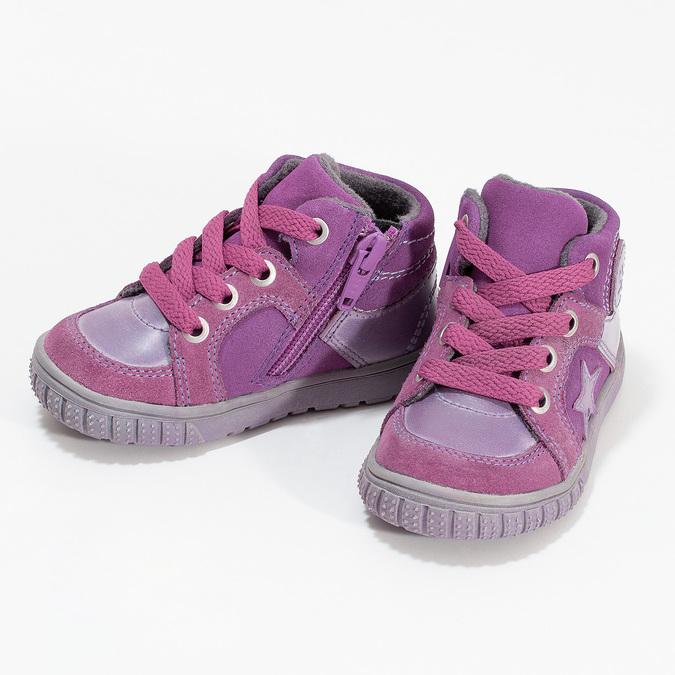 Dívčí kotníčková kožená obuv bubblegummers, růžová, 123-5601 - 16