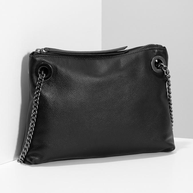 Kožená černá Crossbody kabelka bata, černá, 964-6602 - 17