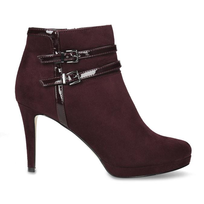 Vínové kotníčkové kozačky s lakovanými pásky bata, červená, 799-5623 - 19