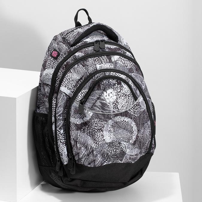 Černo-bílý školní batoh bagmaster, šedá, 969-2719 - 17