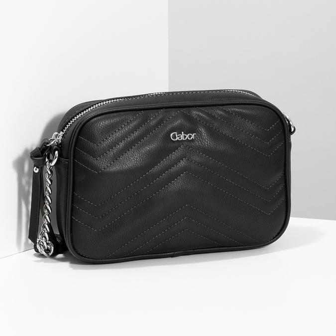 Crossbody kabelka s prošitím černá gabor-bags, černá, 961-6075 - 17