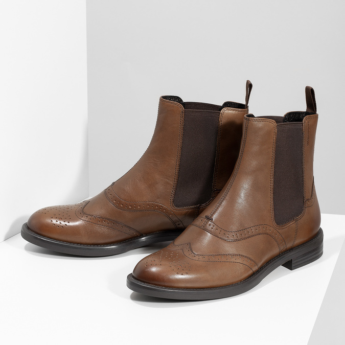 Dámská hnědá kožená Chelsea obuv vagabond, hnědá, 514-3002 - 16