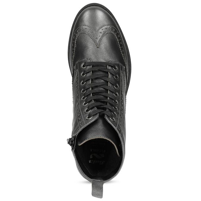 Dámská kotníčková obuv kožená metalická flexible, černá, 596-6695 - 17