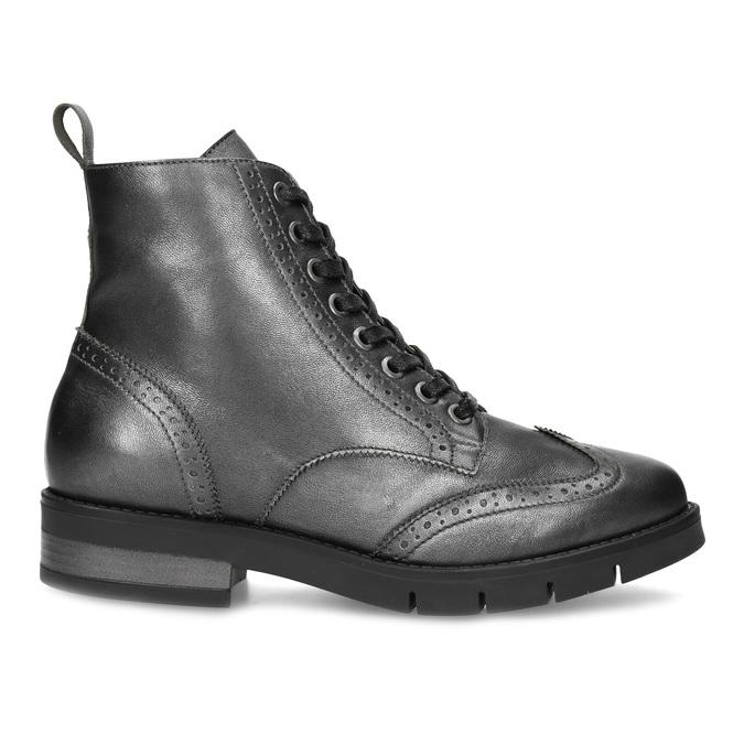 Dámská kotníčková obuv kožená metalická flexible, černá, 596-6695 - 19