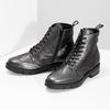 Dámská kotníčková obuv kožená metalická flexible, černá, 596-6695 - 16