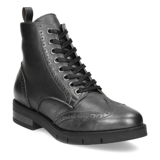 Dámská kotníčková obuv kožená metalická flexible, černá, 596-6695 - 13