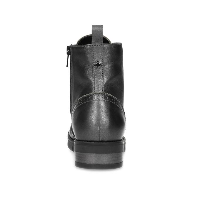 Dámská kotníčková obuv kožená metalická flexible, černá, 596-6695 - 15