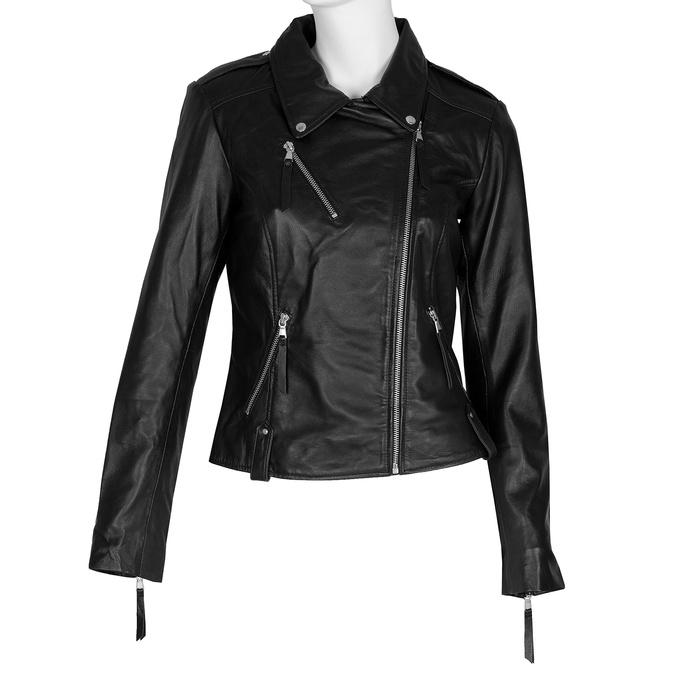 Černá dámská kožená bunda ve stylu křivák bata, černá, 974-6184 - 13