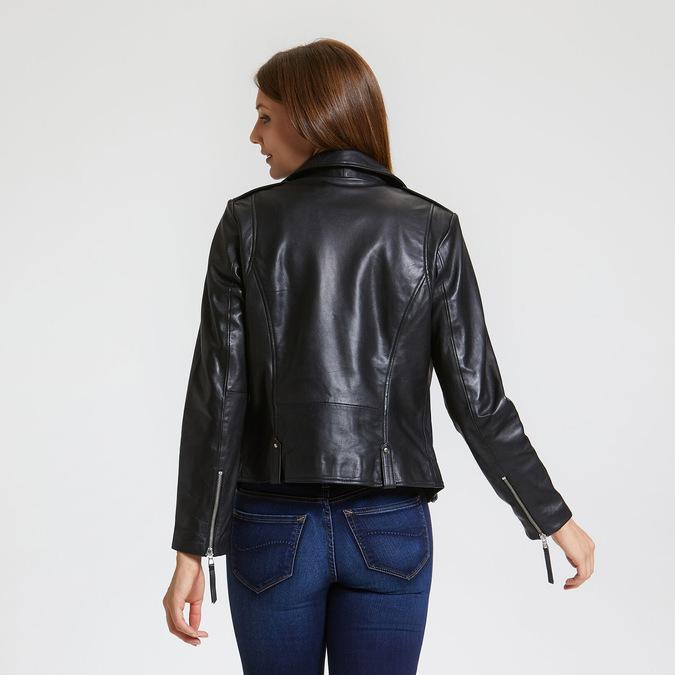 Černá dámská kožená bunda ve stylu křivák bata, černá, 974-6184 - 26