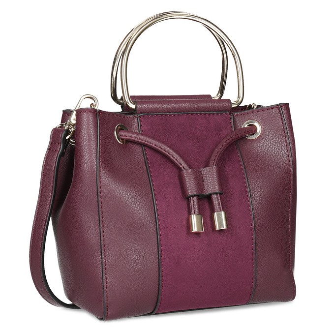 Vínová kabelka s kovovými uchy bata, červená, 961-5891 - 13
