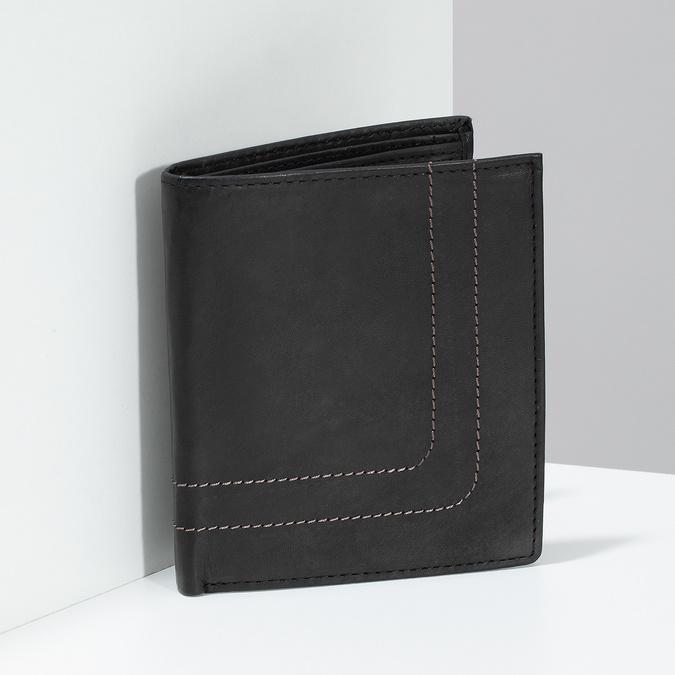 Kožená peněženka s prošitím bata, hnědá, 944-6148 - 17