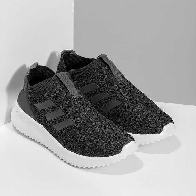Dámské sportovní slip-on z úpletu černé adidas, černá, 509-6128 - 26