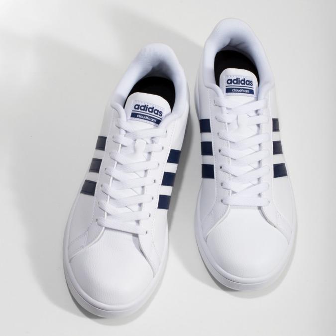 Pánské bílé ležérní tenisky adidas, bílá, modrá, 801-9378 - 16