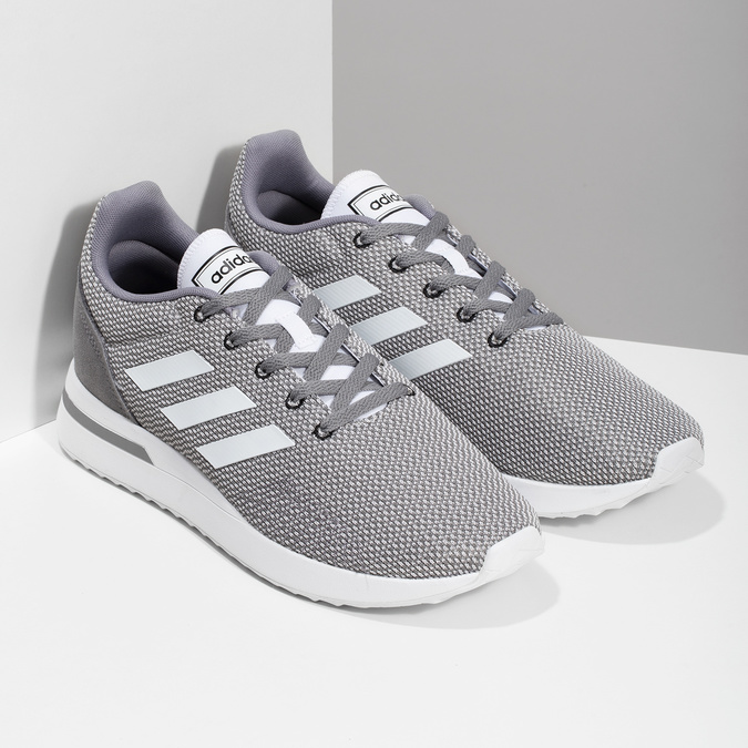 Pánské šedé tenisky s bílými detaily adidas, šedá, 809-2163 - 26