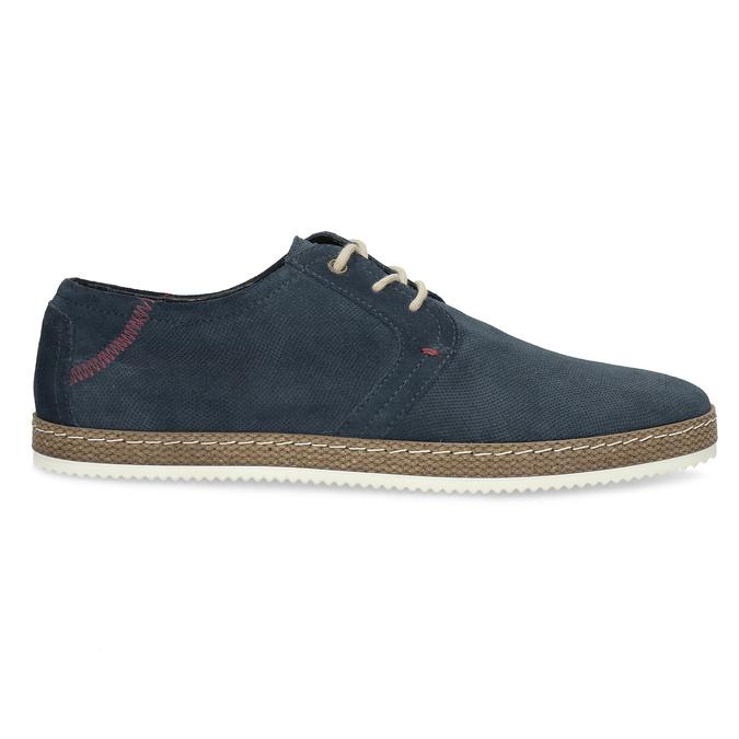 Tmavě modré kožené tenisky s perforací bata, modrá, 823-9617 - 19