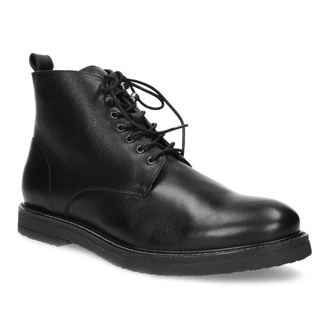 Baťa Černá kožená kotníčková pánská obuv - Neformální  4bed77cd42