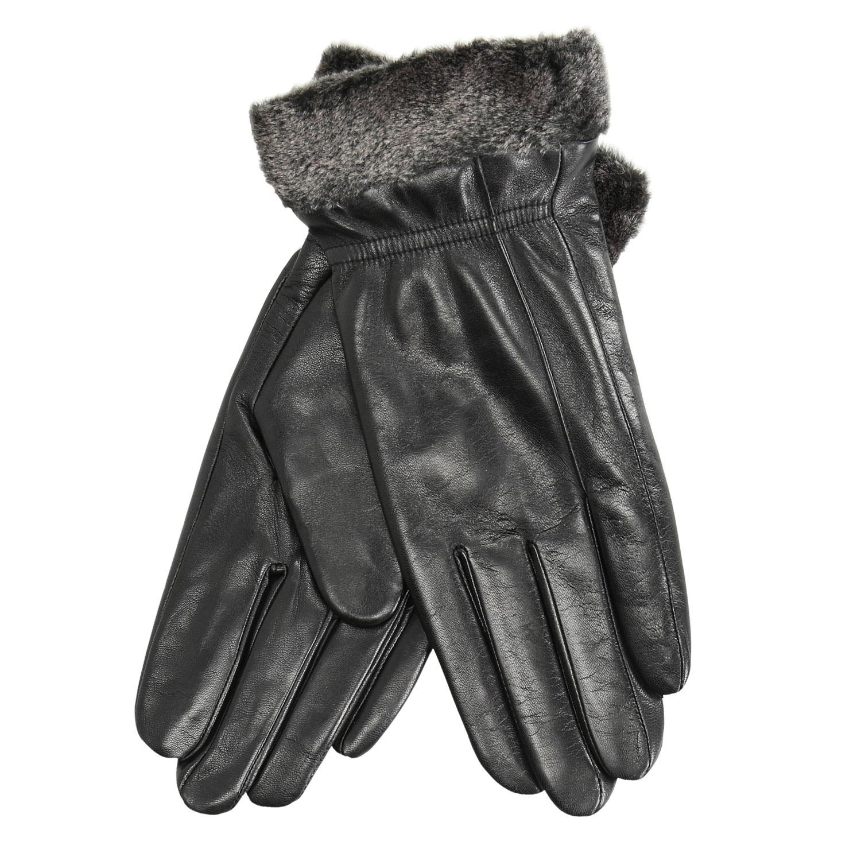 Kožené dámské rukavice s kožešinkou