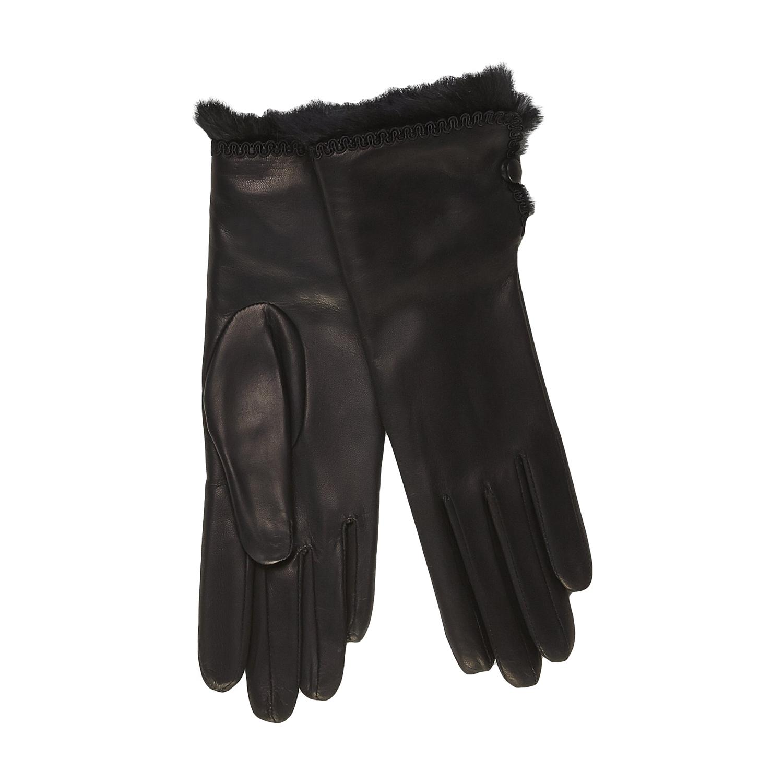 Dámské kožené rukavice s kožešinkou