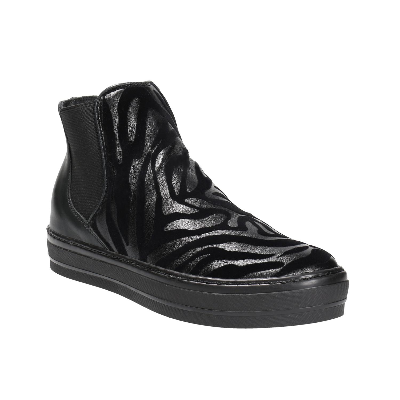 Kožená kotníčková obuv se zvířecím vzorem