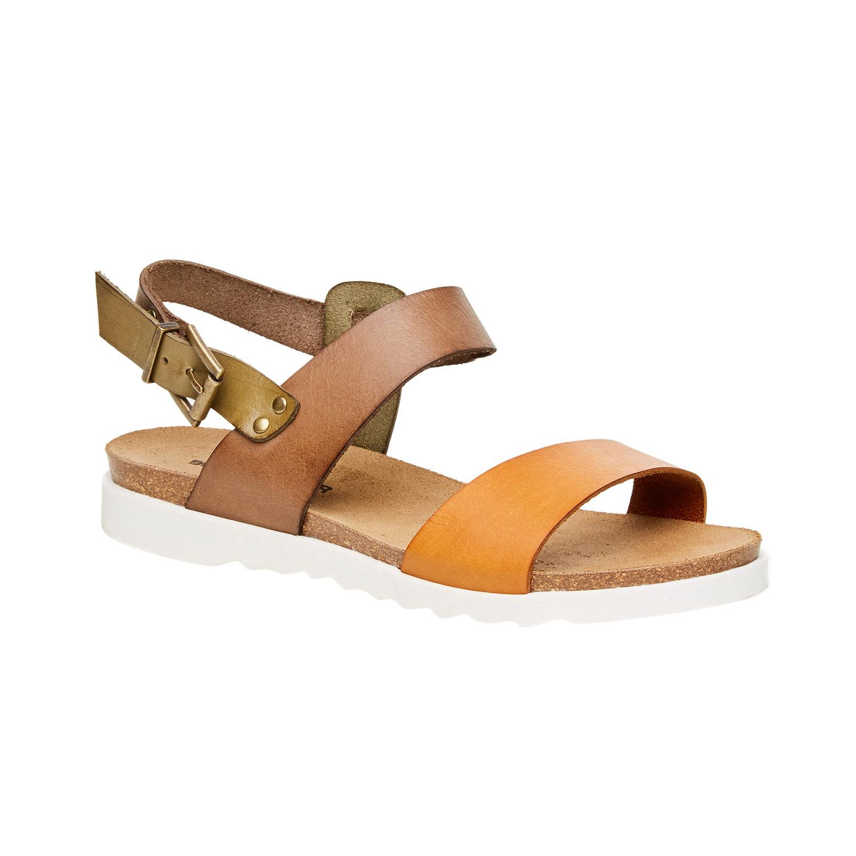 Dámské kožené sandály na bílé podešvi