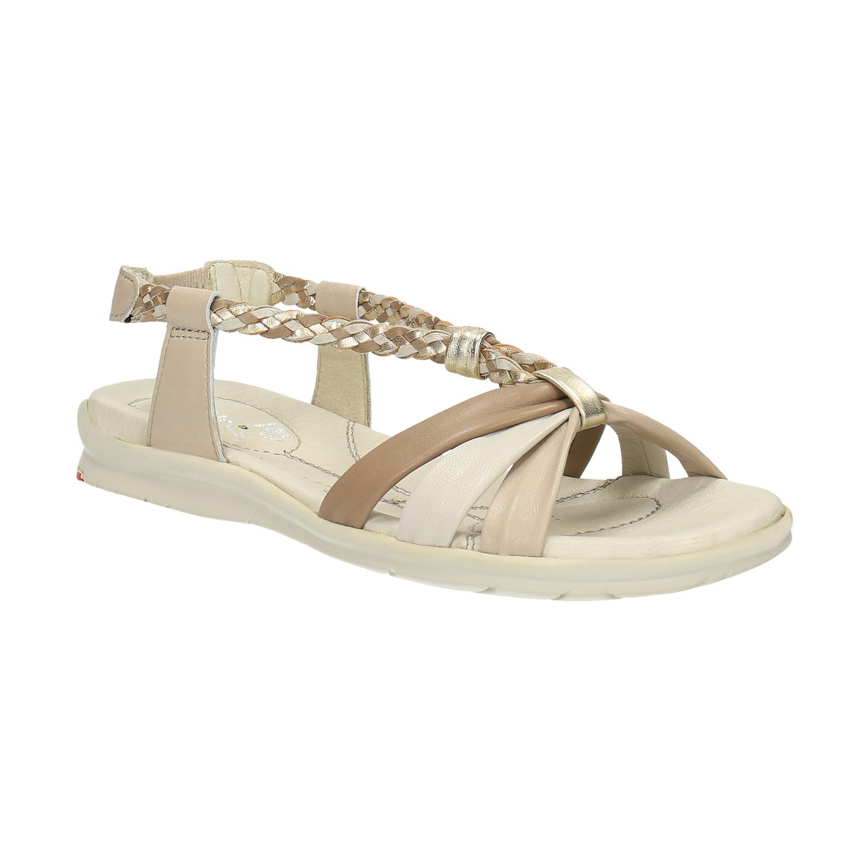 Kožené sandály s pletenými pásky