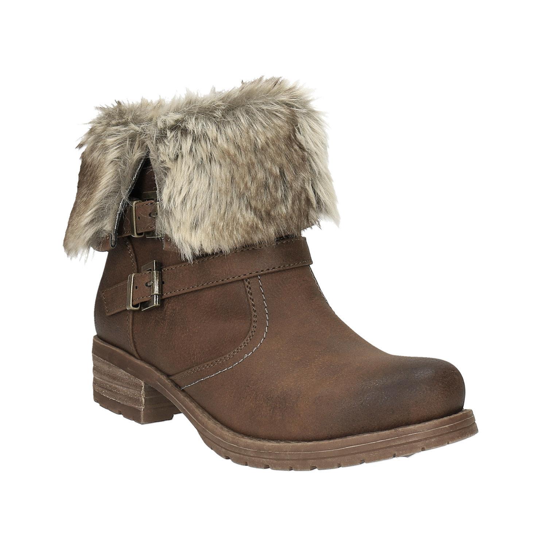 Dámská kotníčková obuv s kožíškem