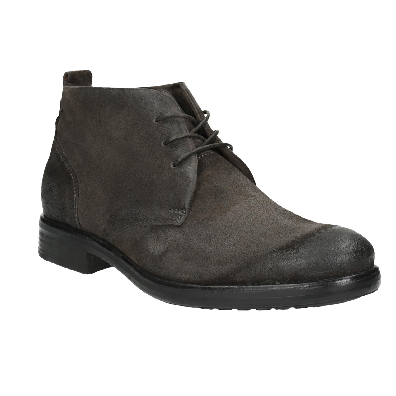 Kotníčková obuv z broušené kůže