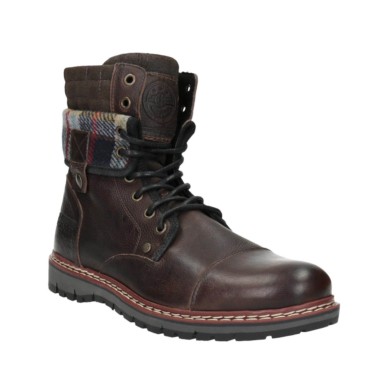 Kožená zimní obuv s károvaným detailem