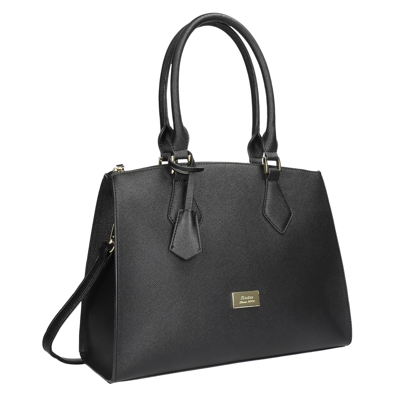 Czarna torba damska ze sztywnymi uchwytami - 9616646