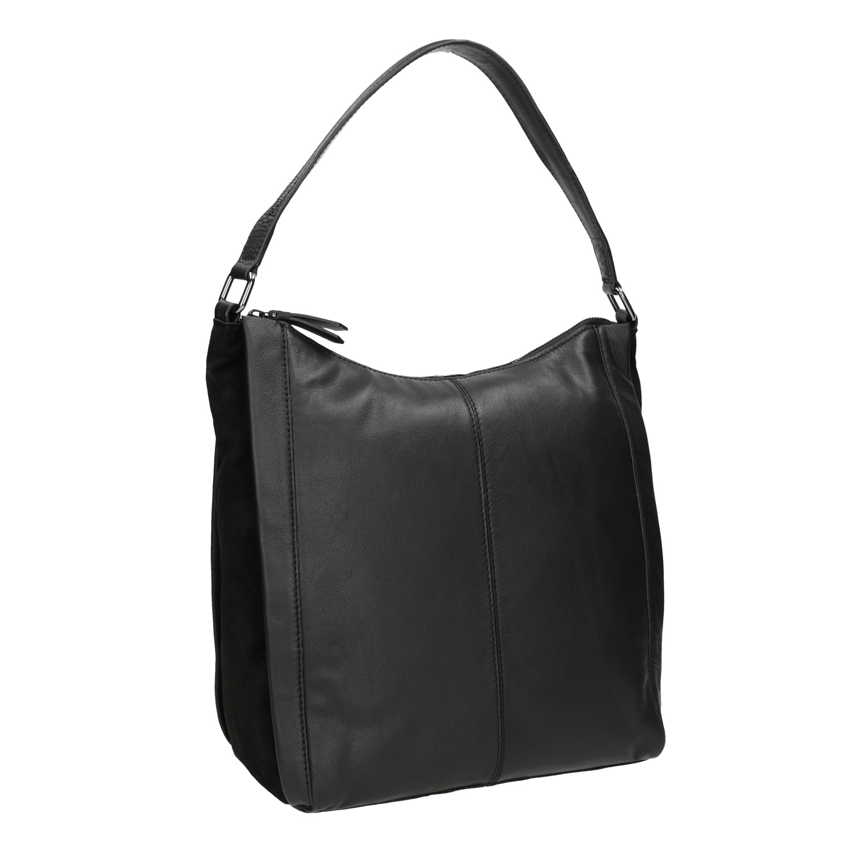 Kožená kabelka v Hobo štýle čierna