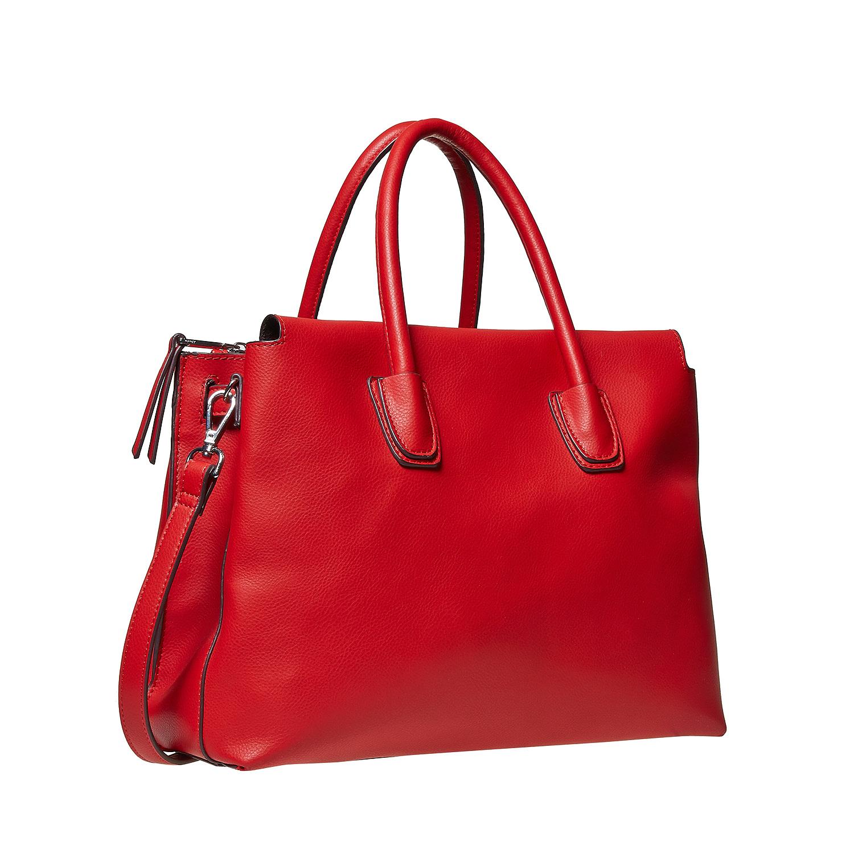 Červená kabelka s pevnými uchy