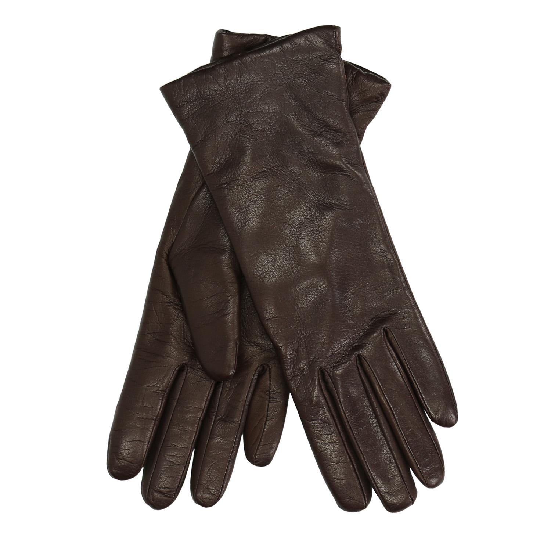 Tmavě hnědé kožené rukavice
