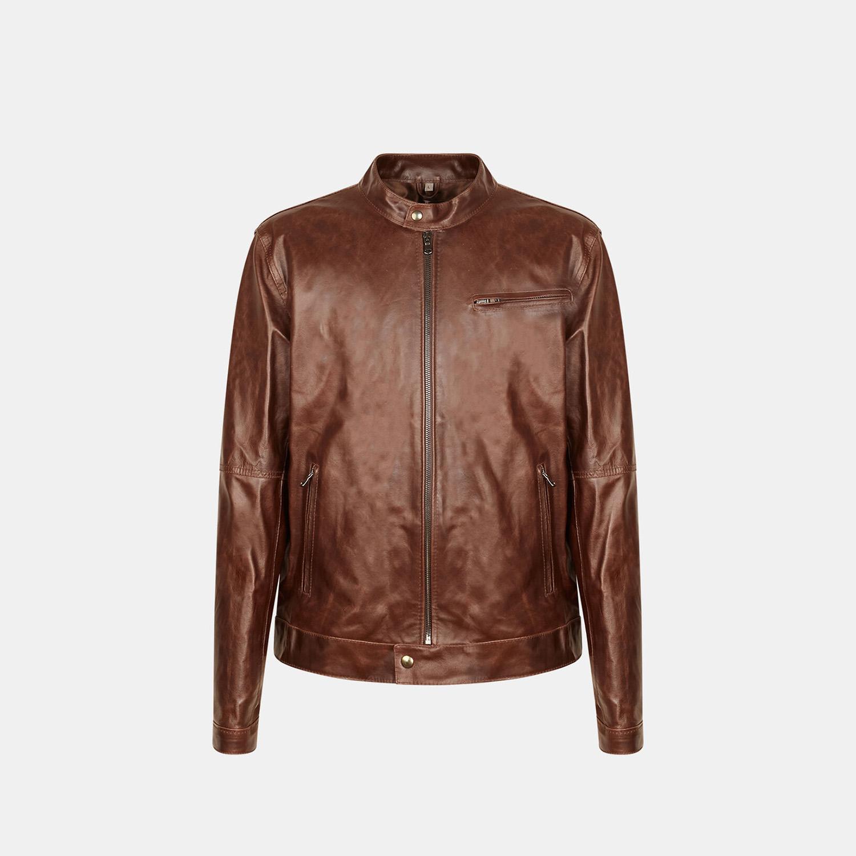 Dámská kožená bunda se stylovým prošitím