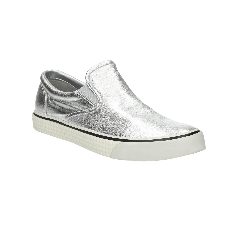 Kožená stříbrná Slip-on obuv