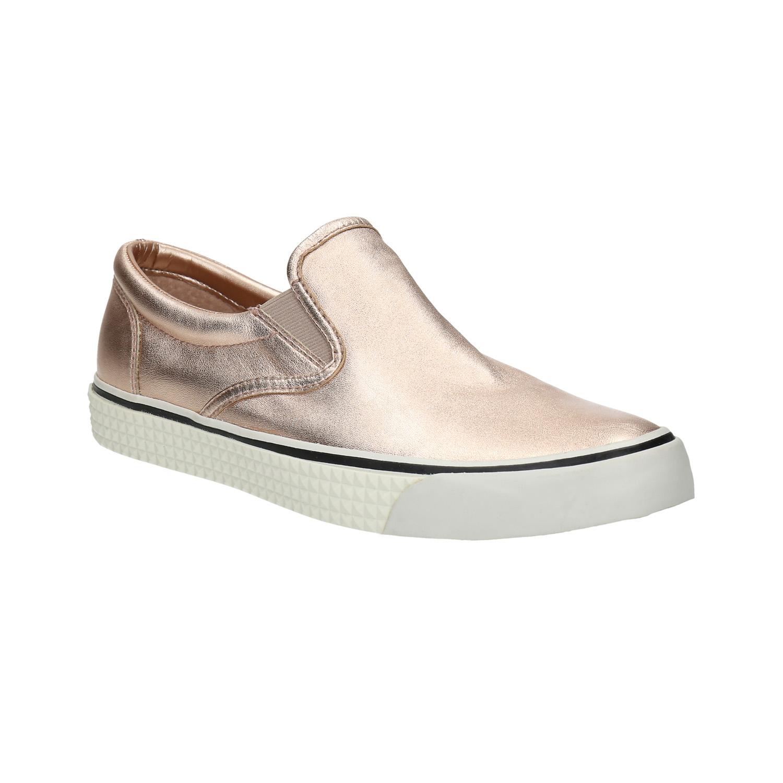 Zlatá dámská obuv ve stylu Slip-on