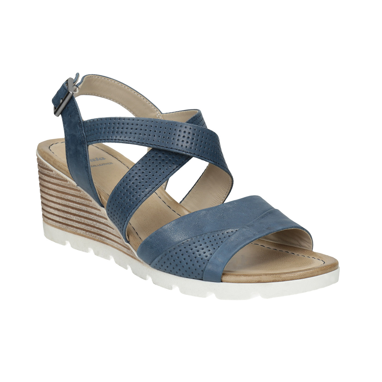 Skórzane sandały na koturnach - 6669606