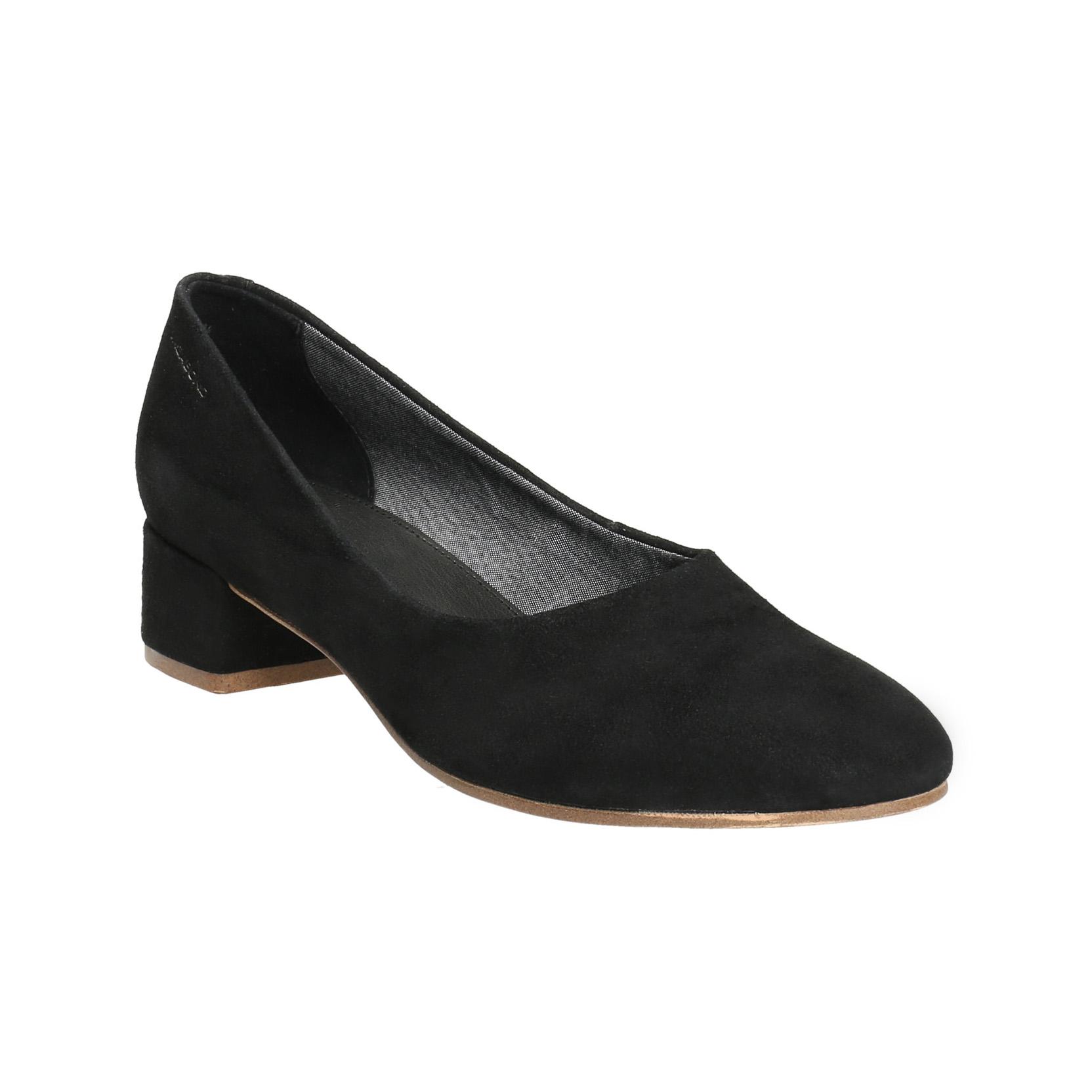 Černé kožené lodičky na nízkém podpatku