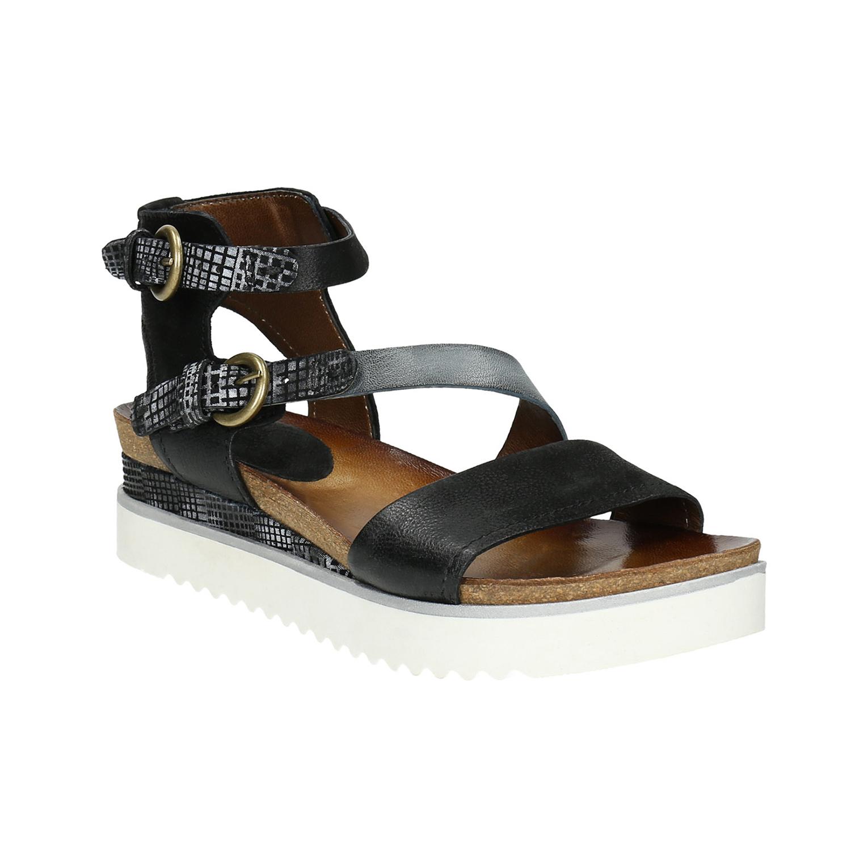 Skórzane sandały damskie na platformie - 6666604