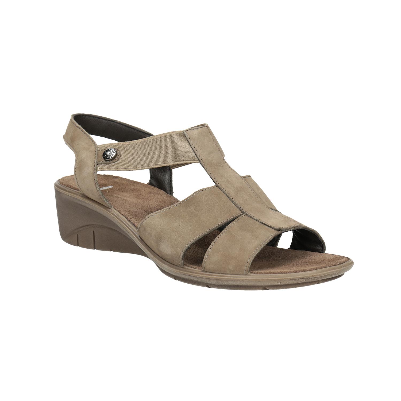 Skórzane sandały na koturnach - 6664609